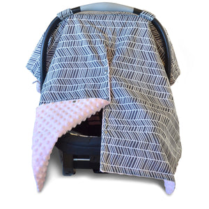 Herringbone Car Seat Canopy with Soft Pink Dot Minky and Peekaboo Opening™