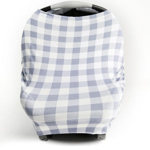 Stretchy Multi-use Car Seat Canopy + Nursing Cover + Shopping Cart Cover in Gray Plaid Print