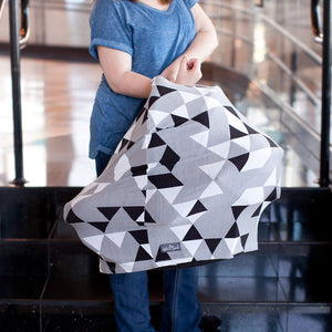 Stretchy Multi-use Car Seat Canopy + Nursing Cover + Shopping Cart Cover in Grey Geometric Print