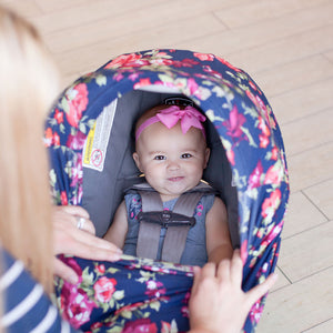 Stretchy Multi-use Car Seat Canopy + Nursing Cover + Shopping Cart Cover in Navy Floral Print