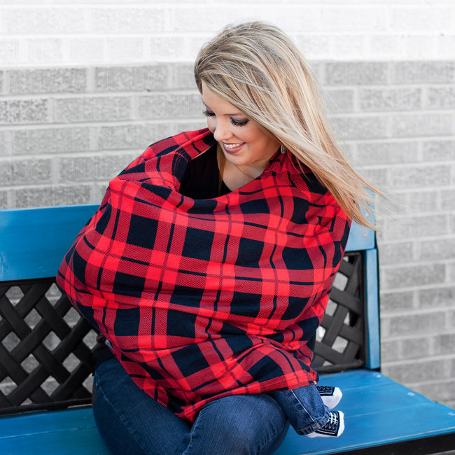 Our stretchy plaid car seat cover can be use as nursing blanket