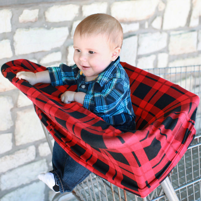 Multi-use cart seat cover in red plaid