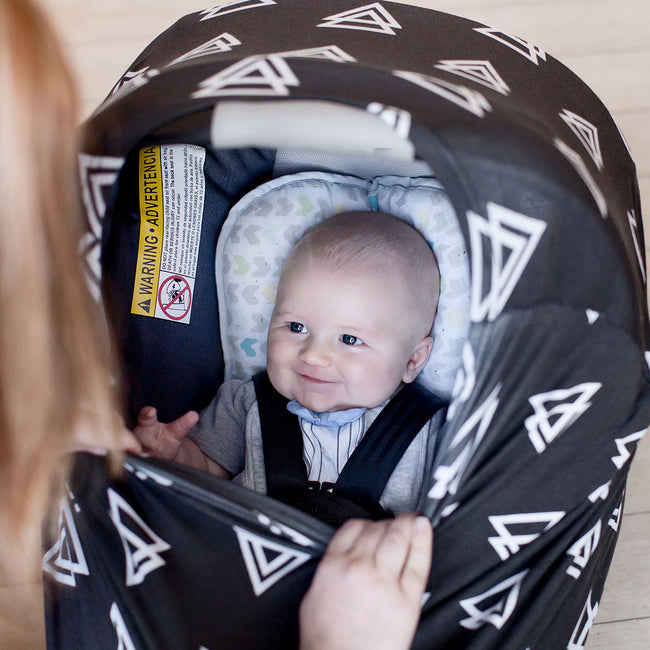 Multi-use car seat canopy with stretchy opening