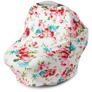 Stretchy Multi-use Car Seat Canopy + Nursing Cover + Shopping Cart Cover in White Floral Print