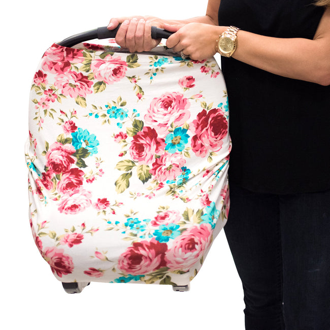Multi Use Car Seat Cover- White Floral