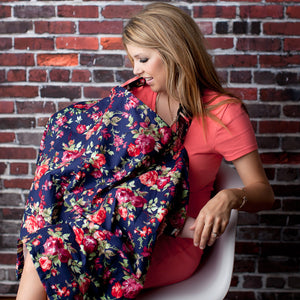 Nursing Cover with Built-in Burp Cloth + FREE Pouch | Vintage Navy Floral
