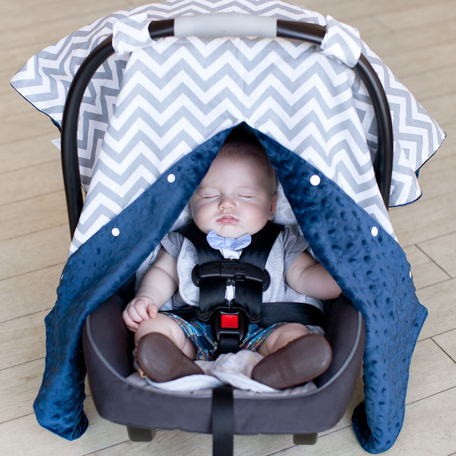 Chevron Car Seat Canopy with Peekaboo Opening