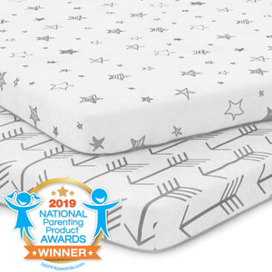 Playard Sheets | Fitted | Jersey Cotton | 2-Pack | Arrows & Stars