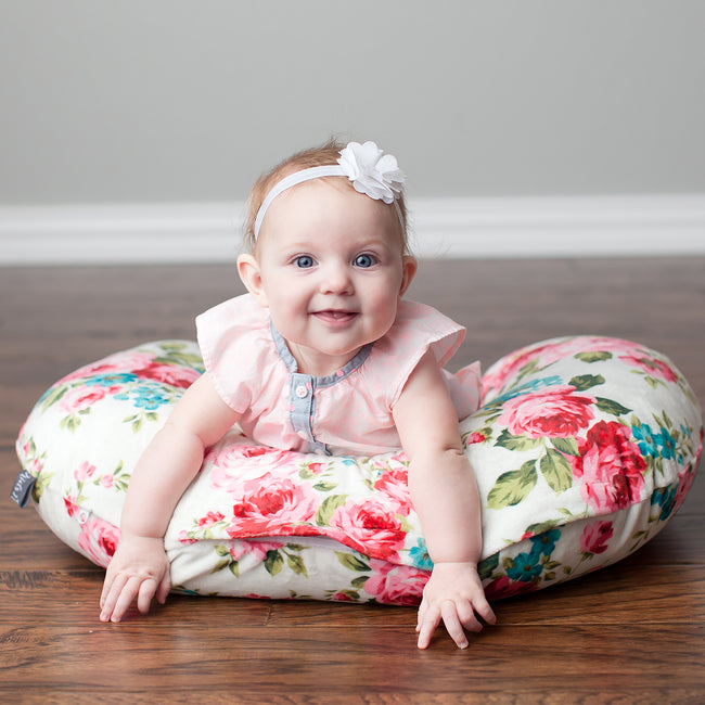 Minky Nursing Pillow Cover in White Floral