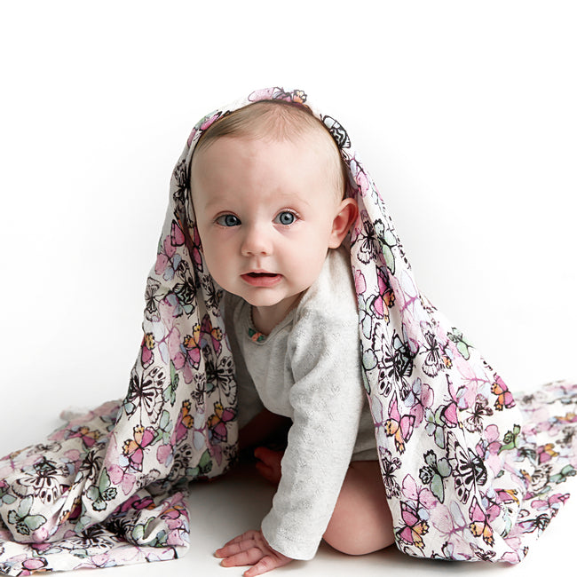 Muslin swaddle blanket in butterfly print
