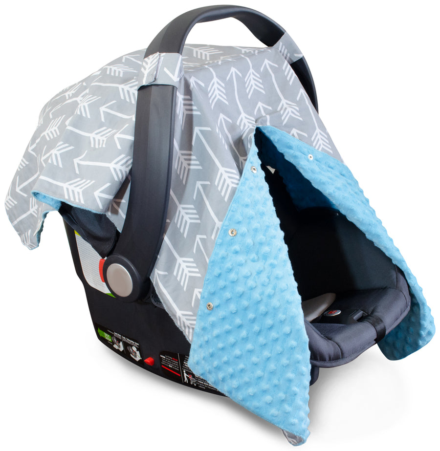 Arrow Car Seat Canopy with Blue Dot Minky and Peekaboo Opening™