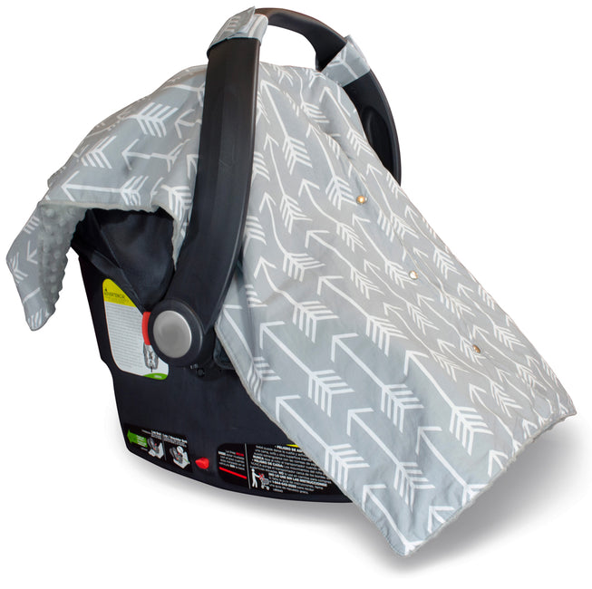 Protect your baby with our car seat cover with peekaboo opening.