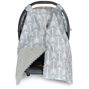 Arrow Car Seat Canopy with Grey Dot Minky and Peekaboo Opening™
