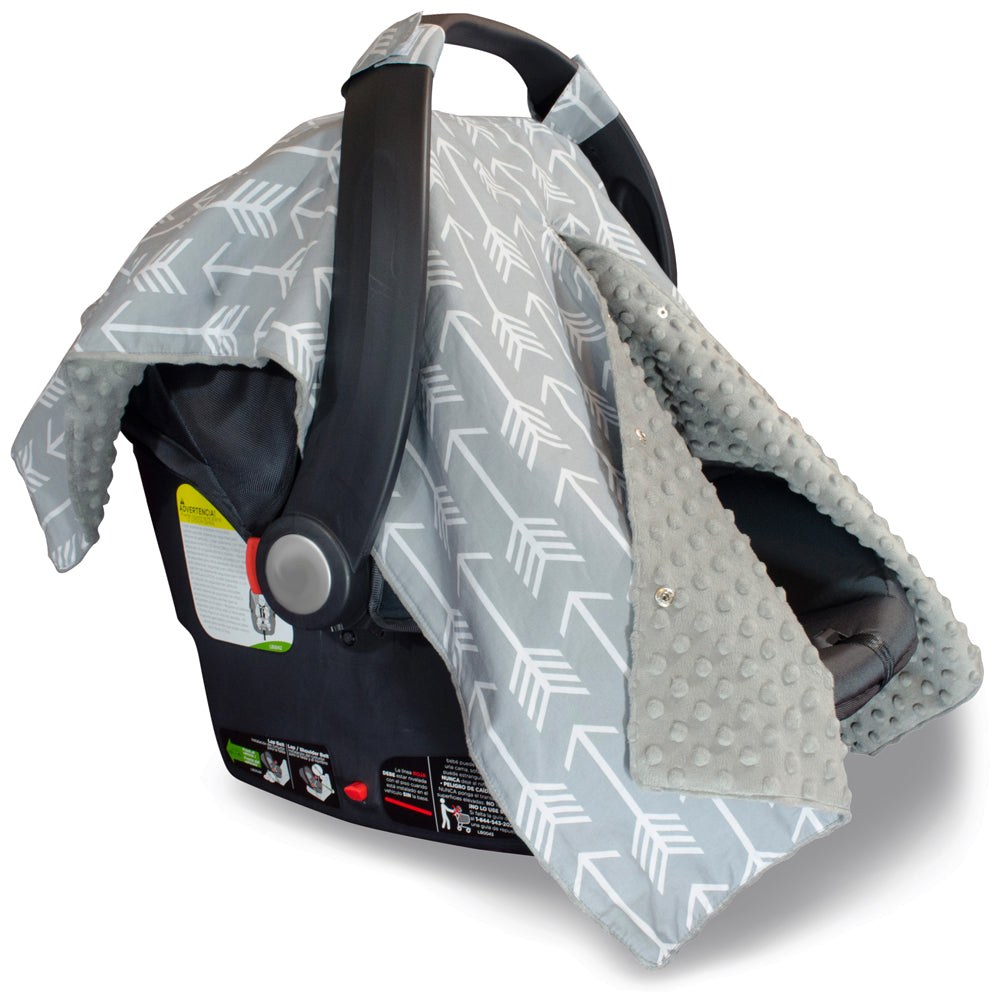 Arrow Car Seat Canopy With Grey Dot Minky And Peekaboo Opening