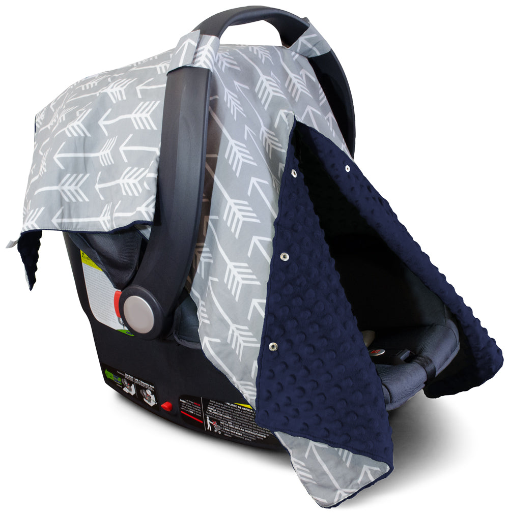 Arrow Car Seat Canopy with Navy Dot Minky and Peekaboo Opening™