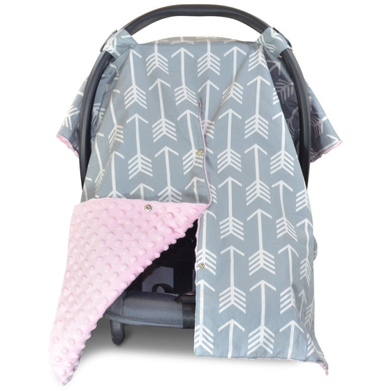 Arrow Car Seat Canopy with Baby Pink Dot Minky and Peekaboo Opening™  sc 1 st  Kids Nu0027 Such & Infant Carrier Cover Collection by Kids Nu0027 Such