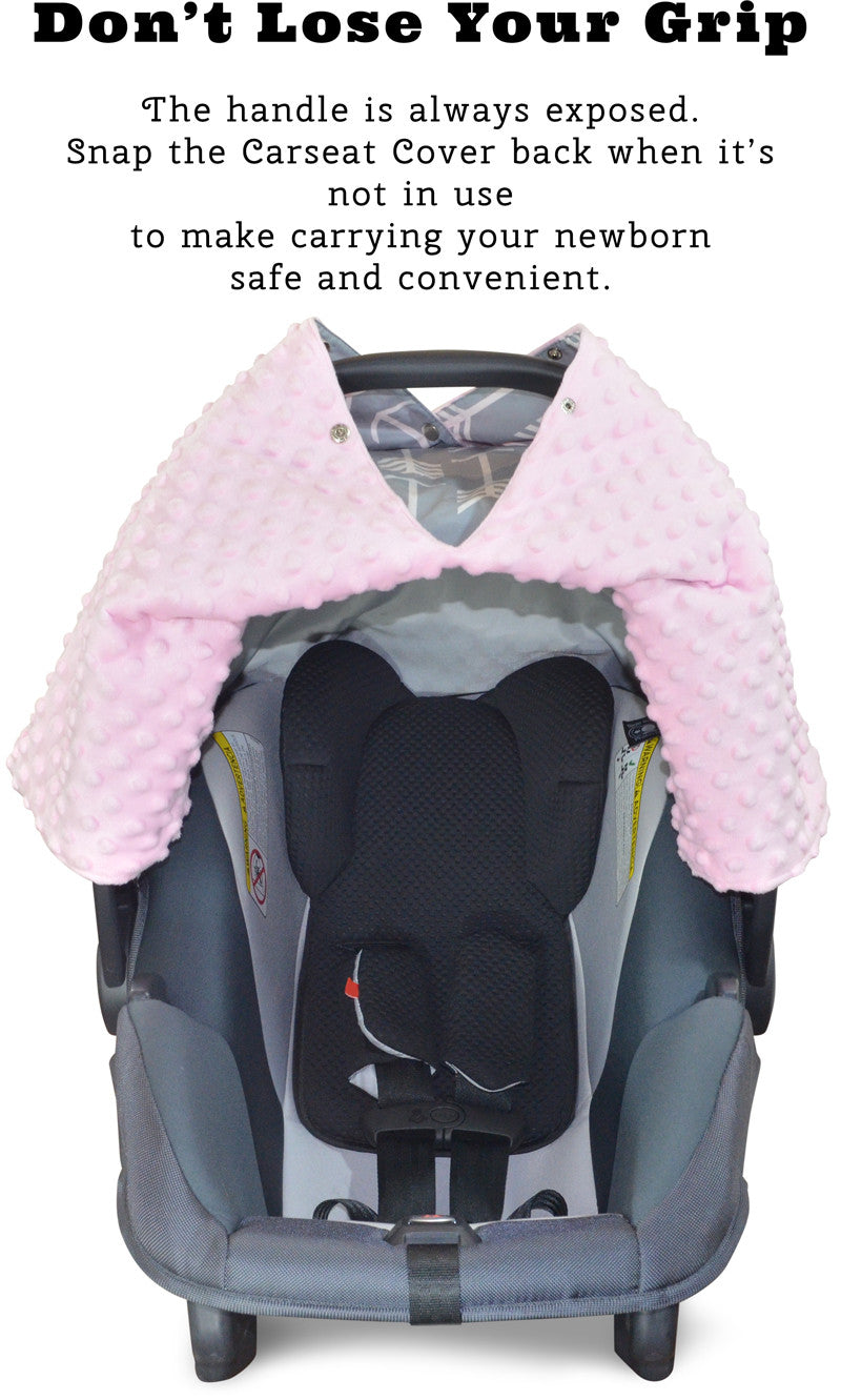 Phenomenal Arrow Car Seat Canopy With Baby Pink Dot Minky And Peekaboo Opening Forskolin Free Trial Chair Design Images Forskolin Free Trialorg