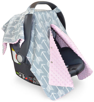 Arrow Car Seat Canopy with Baby Pink Dot Minky and Peekaboo Opening™