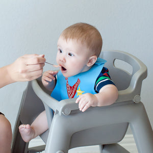 Baby Bibs for Boys 3 Pack - 100% Food Grade Silicon - Waterproof with Food Catcher - Dishwasher Safe