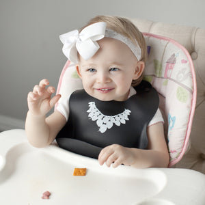 Baby Bibs for Girls 3 Pack - 100% Food Grade Silicone -Waterproof with Food Catcher -Dishwasher Safe