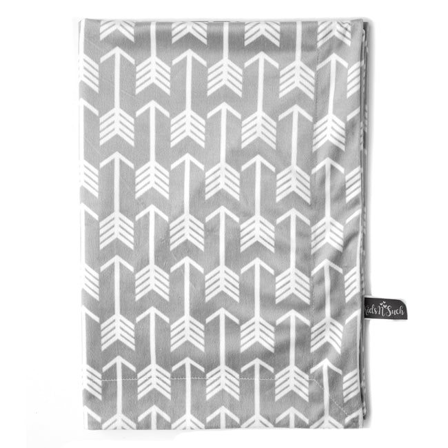 Minky Baby Blanket with Grey Arrow Design