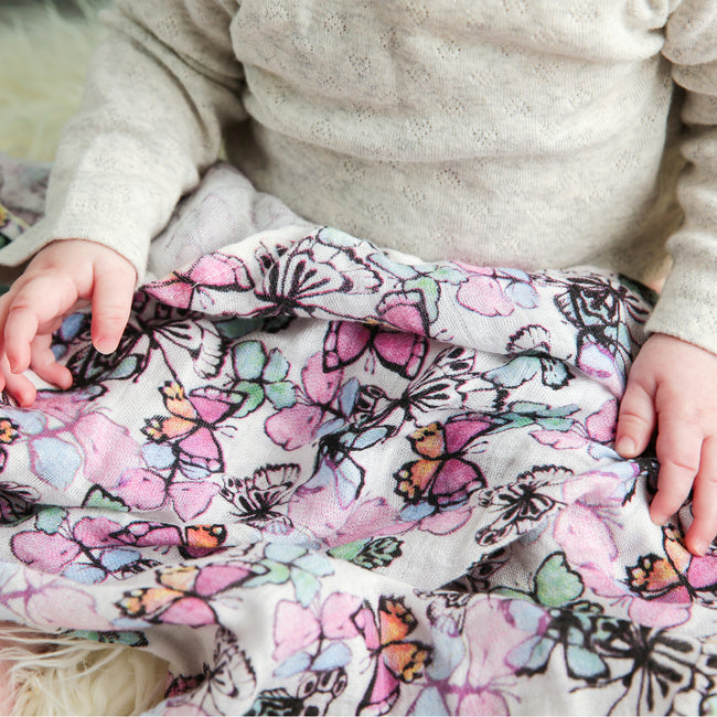 Swaddle blanket in colorful butterfly print
