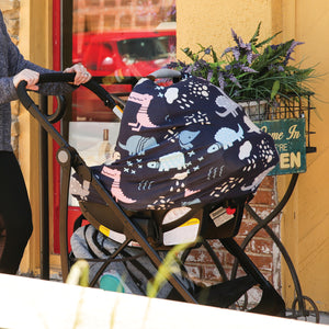 Stretchy Multi-use Car Seat Canopy + Nursing Cover + Shopping Cart Cover in Dinosaurs Print