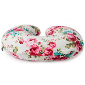 Minky Nursing Pillow Cover | White Floral Pattern Slipcover