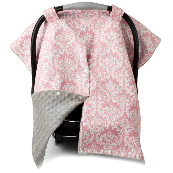 Pink Damask Car Seat Canopy with Champagne Dot Minky and Peekaboo Opening™