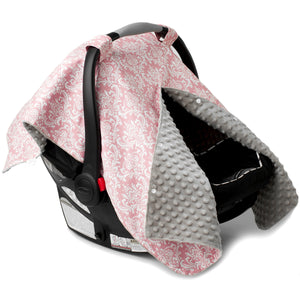 Pink Damask Car Seat Canopy with Champagne Dot Minky and Peekaboo Opening