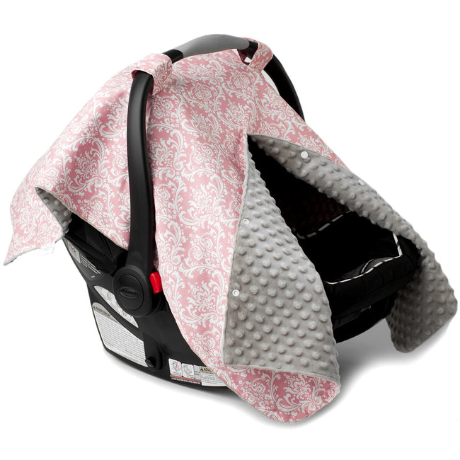 Pink Damask Car Seat Canopy with Peekaboo Opening