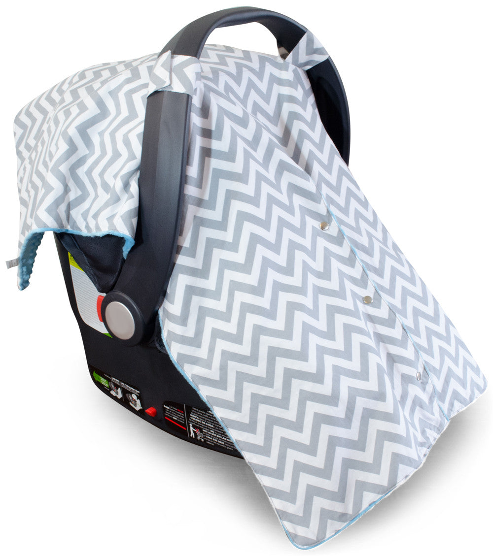 Chevron Car Seat Canopy With Blue Dot Minky And Peekaboo OpeningTM