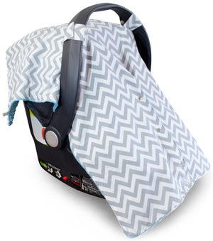 Chevron Car Seat Canopy with Blue Dot Minky and Peekaboo Opening™