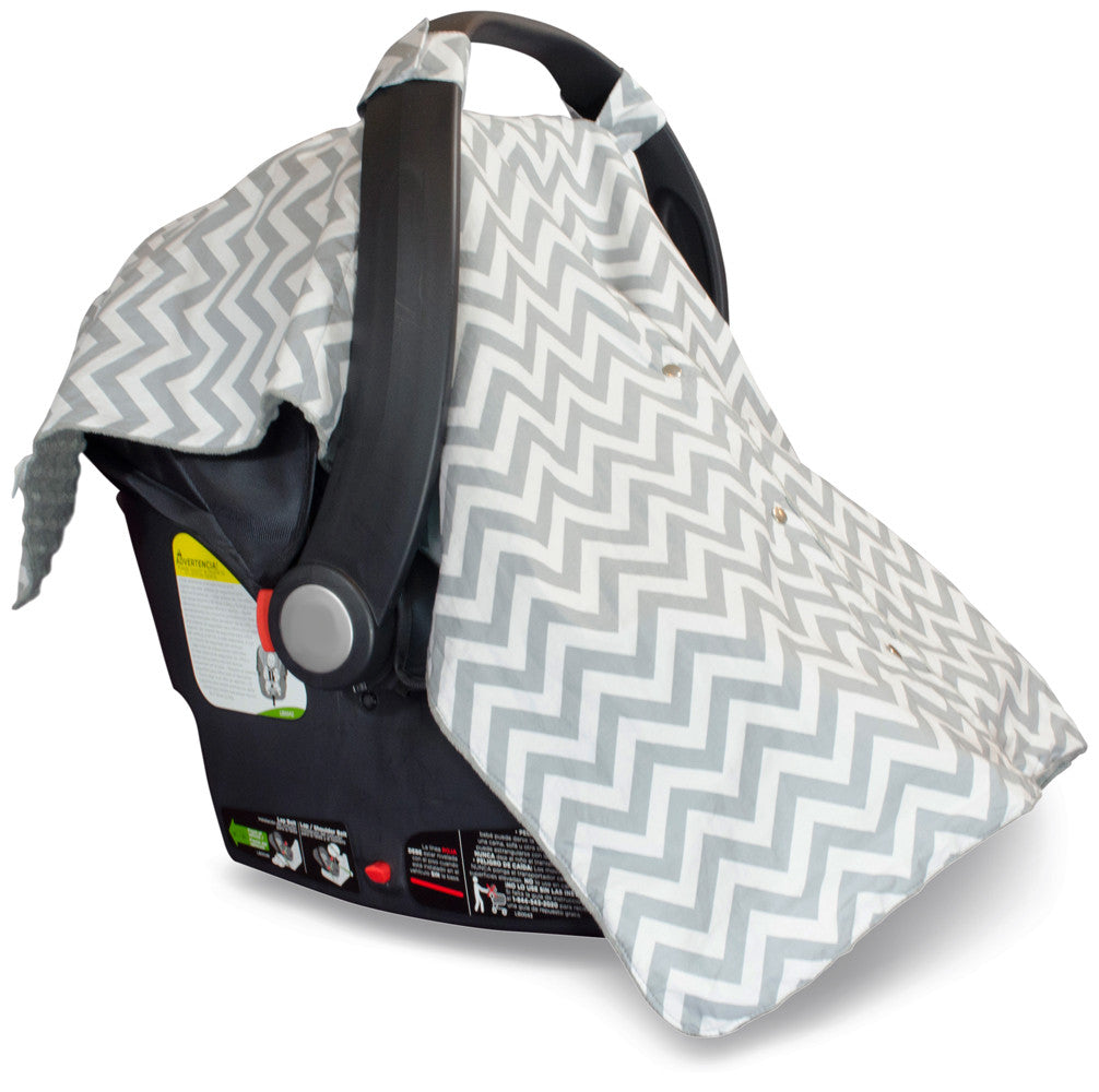 Chevron Car Seat Canopy With Grey Dot Minky And Peekaboo OpeningTM