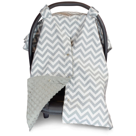 Chevron Car Seat Canopy with Grey Dot Minky and Peekaboo Opening™