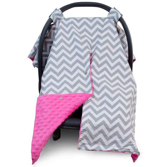 Chevron Car Seat Canopy with Hot Pink Dot Minky and Peekaboo Opening™