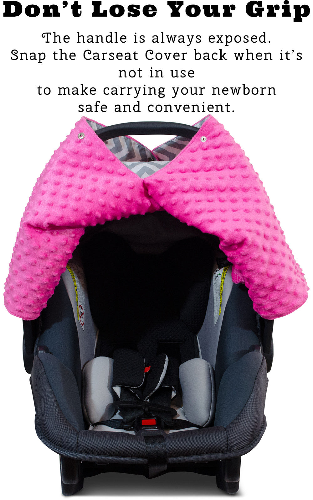 Chevron Car Seat Canopy With Hot Pink Dot Minky And Peekaboo OpeningTM