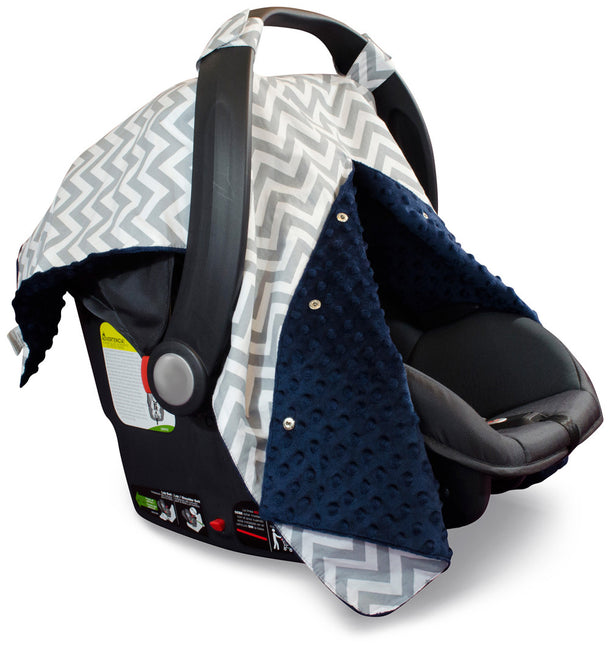 Chevron Car Seat Canopy with Navy Dot Minky