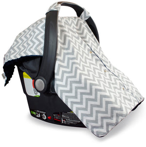 Chevron Car Seat Canopy with Navy Dot Minky and Peekaboo Opening™