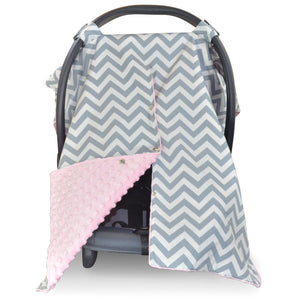 Chevron Car Seat Canopy with Baby Pink Dot Minky and Peekaboo Opening™