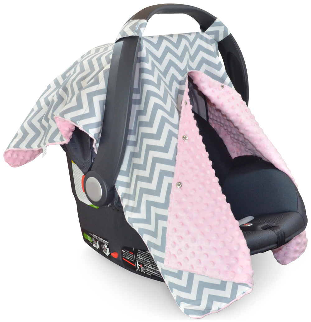 Chevron Car Seat Canopy With Baby Pink Dot Minky And Peekaboo OpeningTM