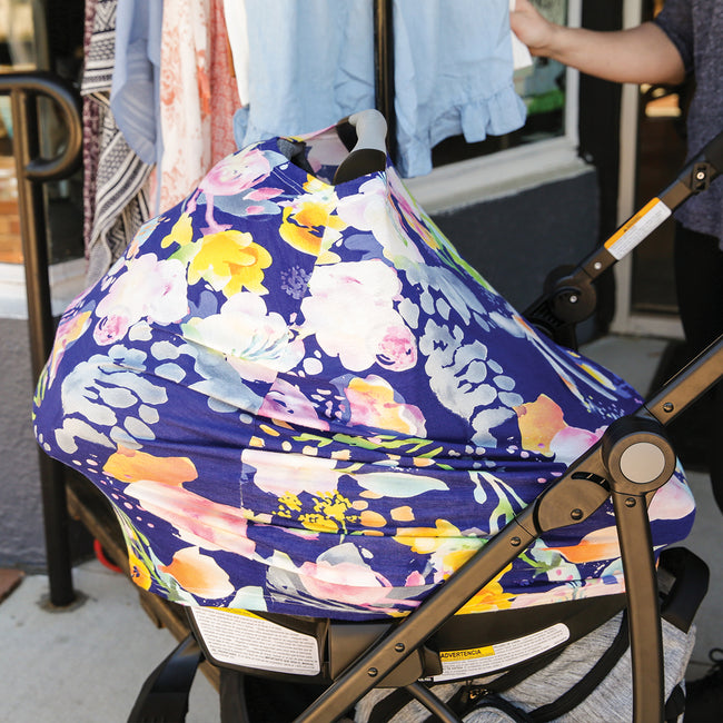 3 in 1 Car Seat Canopy in Pastel Floral Print