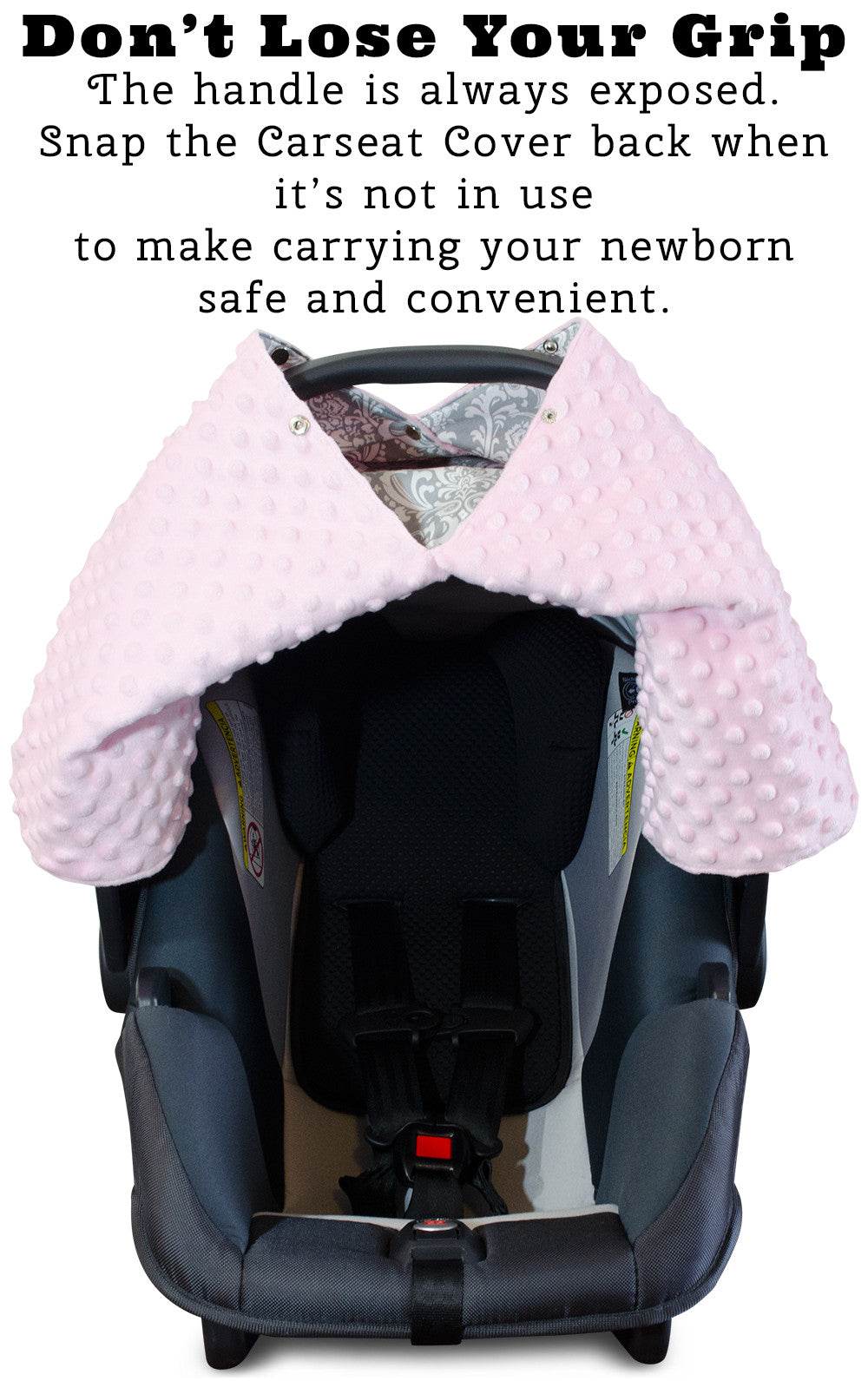Damask Car Seat Canopy With Baby Pink Dot Minky And Peekaboo OpeningTM