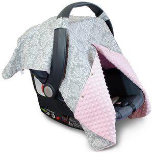 Damask Car Seat Canopy with Baby Pink Dot Minky and Peekaboo Opening™