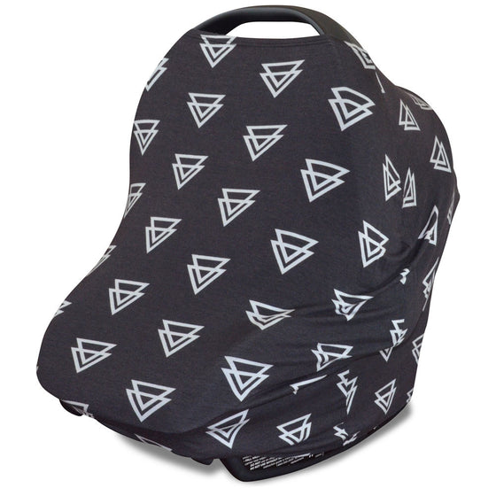 Stretchy Multi-use Car Seat Canopy + Nursing Cover + Shopping Cart Cover in Black Triangle Print