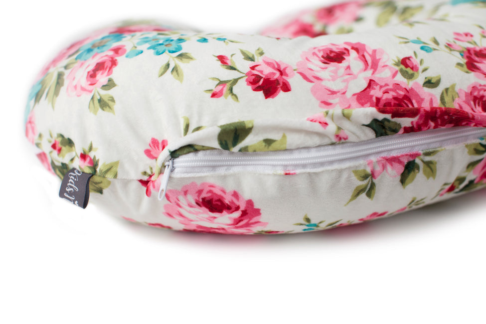 White Floral Nursing Pillow Cover with Zipper
