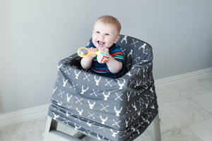 Stretchy Multi-use Car Seat Canopy + Nursing Cover + Shopping Cart Cover in Grey Stag Print