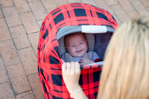 Stretchy Multi-use Car Seat Canopy + Nursing Cover + Shopping Cart Cover in Red Plaid Print