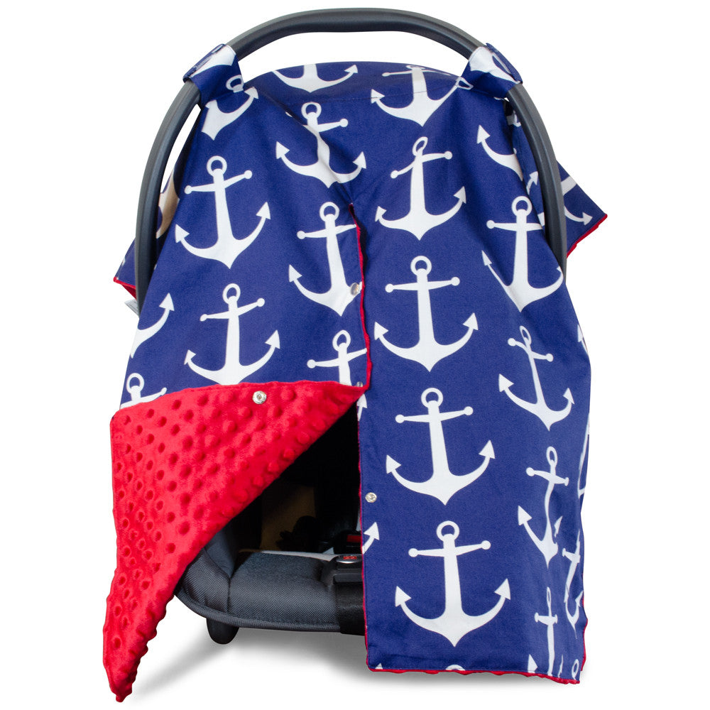 Nautical Anchor Car Seat Canopy With Red Dot Minky And Peekaboo Openin Kids N Such