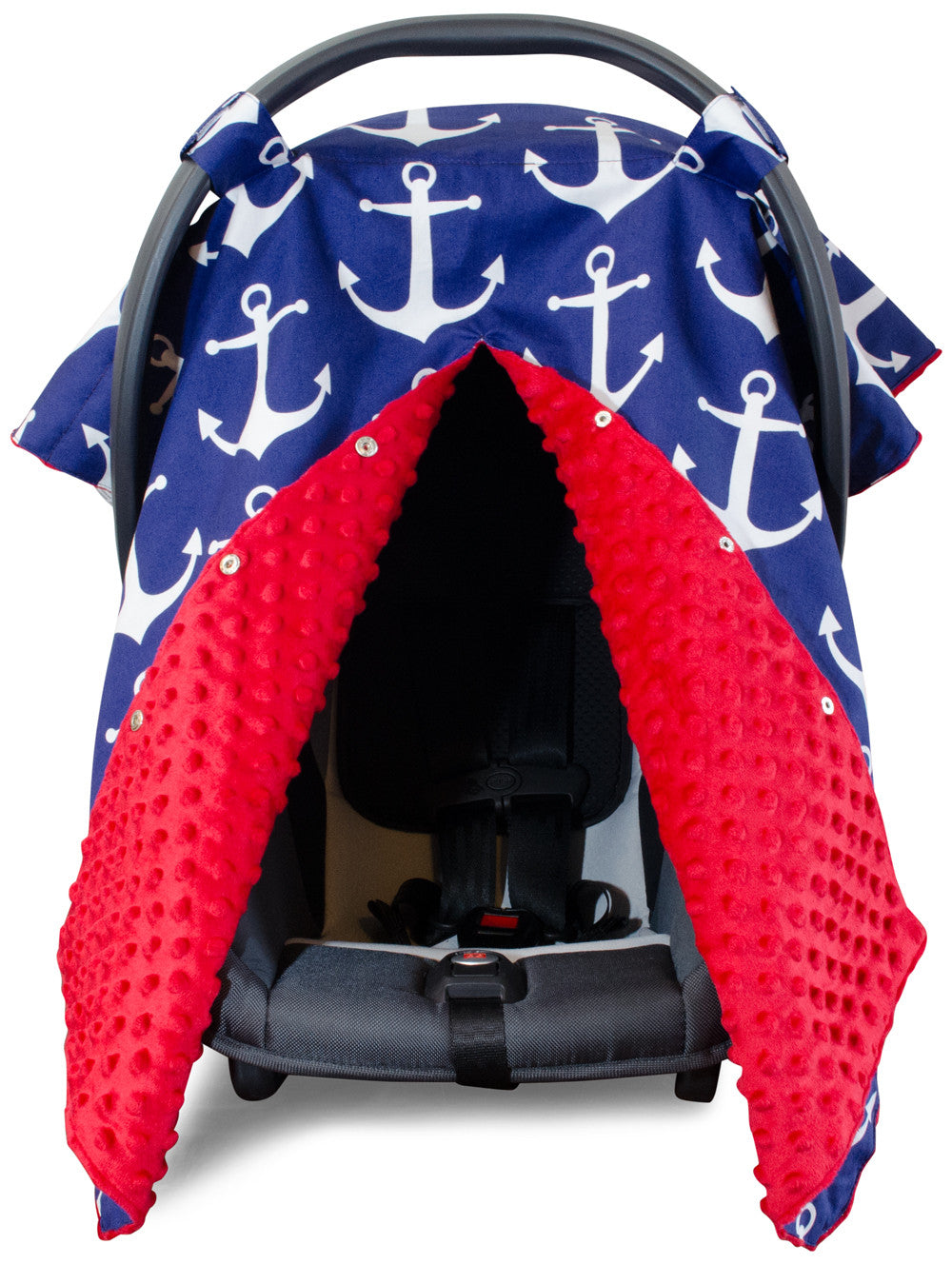 Nautical Anchor Car Seat Canopy With Red Dot Minky And Peekaboo